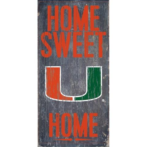"Miami Hurricanes Wood Sign - Home Sweet Home 6""x12"""