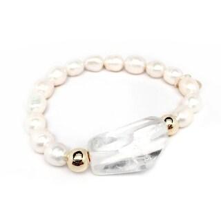 "Freshwater Pearl & Crystal Quartz Rock Candy 7"" Bracelet"