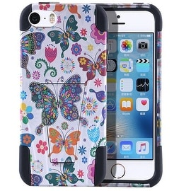 Insten Butterfly Hard PC/ Silicone Dual Layer Hybrid Case Cover with Stand For Apple iPhone 5/ 5S/ SE