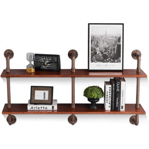 Rustic Industrial Pipe Shelving Unit, 2-Shelf Vintage Pine Wood Wall Mounted Shelf Farmhouse Bookcase
