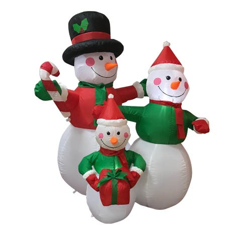 ALEKO Outdoor Yard Inflatable Christmas Decoration 4' Snowman Family
