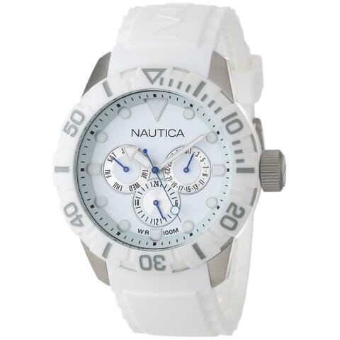 Nautica Unisex N13639G 'NSR' Multi-Function White Silicone Watch