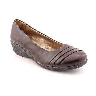Soft Style by Hush Puppies Easy To Pleats Women WW Open Toe Brown Wedge Heel