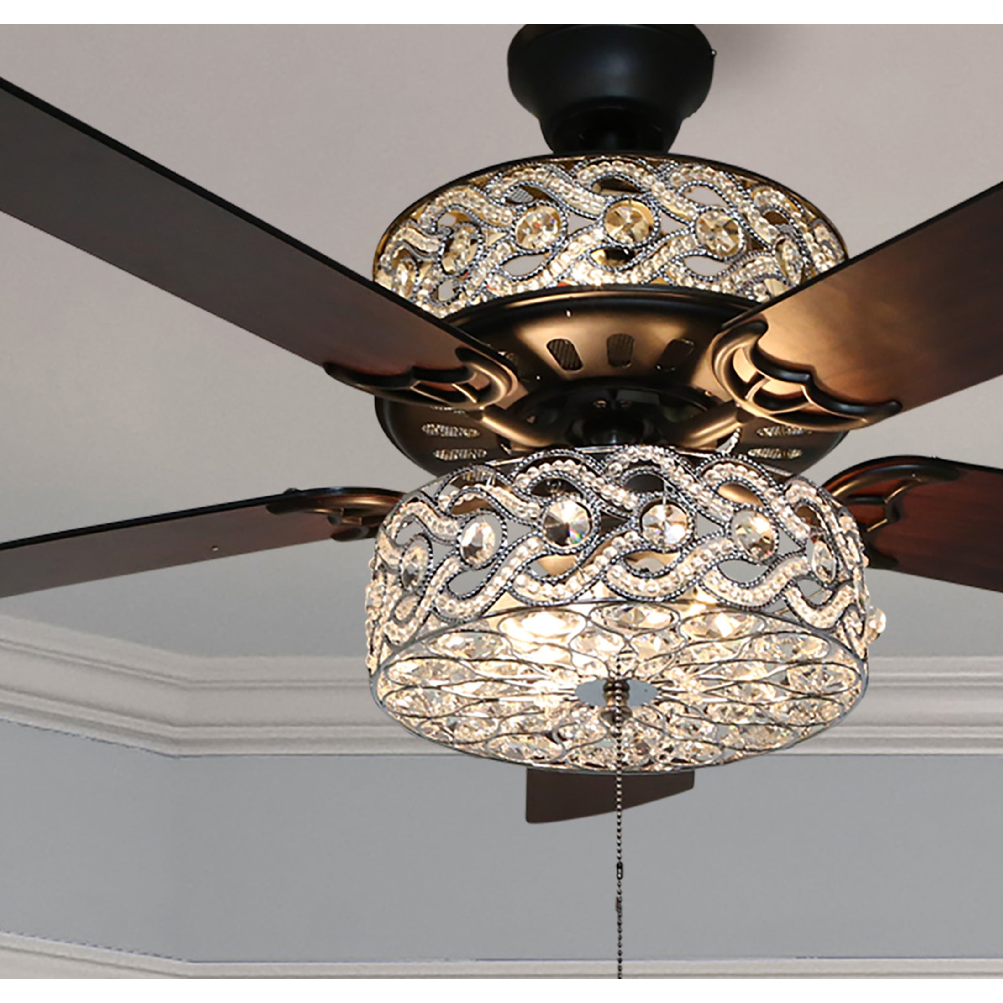 Image of: Shop Black Friday Deals On Olivia Oil Rubbed Bronze Finish Crystal 52 Inch Led Ceiling Fan 52 L X 52 W X 18 25 H 52 L X 52 W X 18 25 H On Sale Overstock
