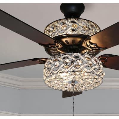 "Olivia Oil Rubbed Bronze Finish/ Crystal 52-inch LED Ceiling Fan - 52""L x 52""W x 18.25""H - 52""L x 52""W x 18.25""H"