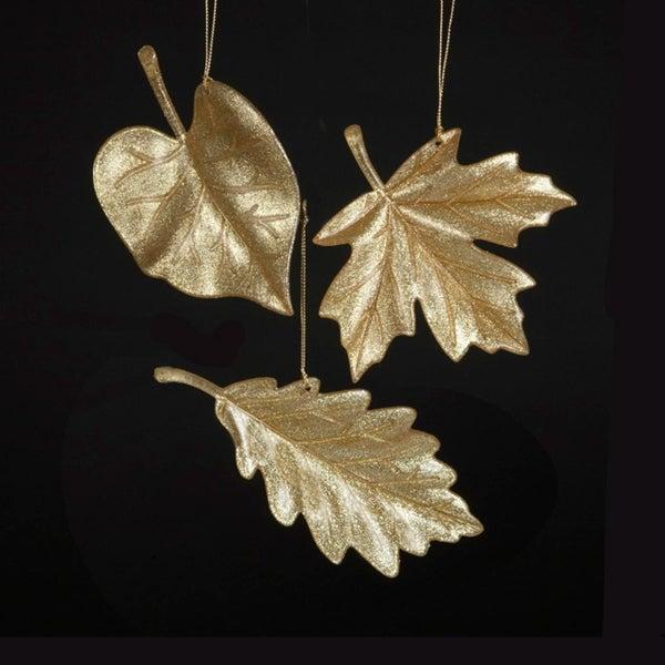 "3.5"" Rich Elegance Glittering Gold Mulbery Leaf Christmas Ornament"