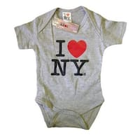 I Love NY New York Baby Infant Screen Printed Heart Bodysuit Gray Large 18 Mo...