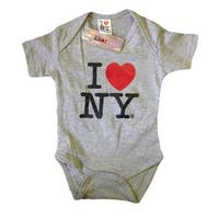 I Love NY New York Baby Infant Screen Printed Heart Bodysuit Gray Medium 12 M...