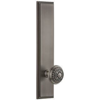 Grandeur CARWIN_TP_PRV_238_RH  Carre Solid Brass Rose Right Handed Tall Plate Privacy Door Knob Set with Windsor Knob and 2-3/8""