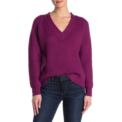 FRNCH Women's Sweater Purple Size Large L V-Neck Rib Knit Pullover