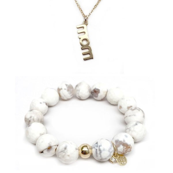 "White Agate 7"" Bracelet & Mom Gold Charm Necklace Set"