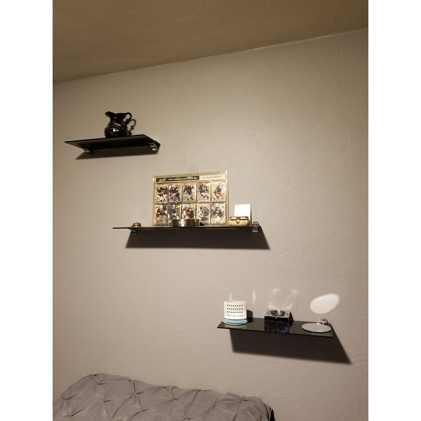 Glass Floating Shelves Stunning Shop Black Smoke Glass Floating Shelves With Chrome Brackets Set Of