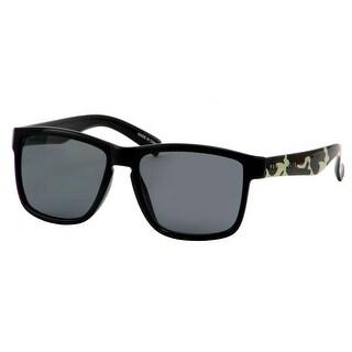 Perry Ellis Mens Plastic Sunglasses Camo/Black PE70-1, Includes Perry Ellis Pouch, 100% UV Protection - Black