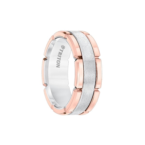 ARNETT Rose Gold Tungsten Carbide Flat Comfort Fit Band with Brush Center & Bright Rims by Triton Rings - 8mm