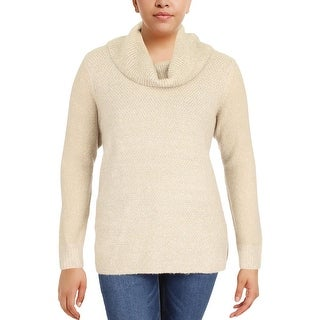 Calvin Klein Womens Plus Pullover Sweater Ribbed Trim Cowl Neck
