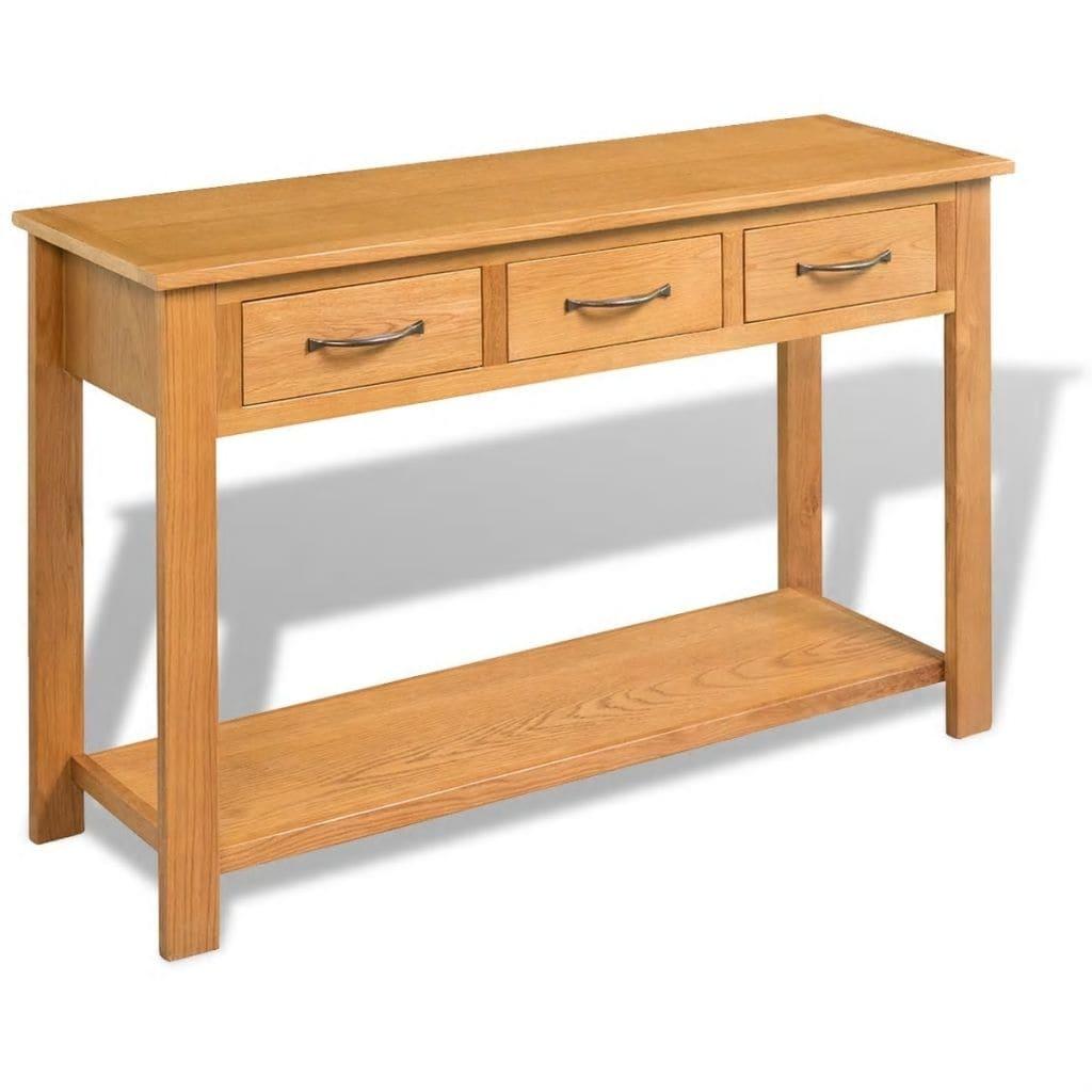 sale retailer cbf36 cd5c2 vidaXL Solid Oak Console Table 3 Drawers Desk Side Wood Hall Hallway  Entrance