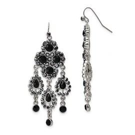 Silvertone Blue Bead & Crystal Dangle Earrings