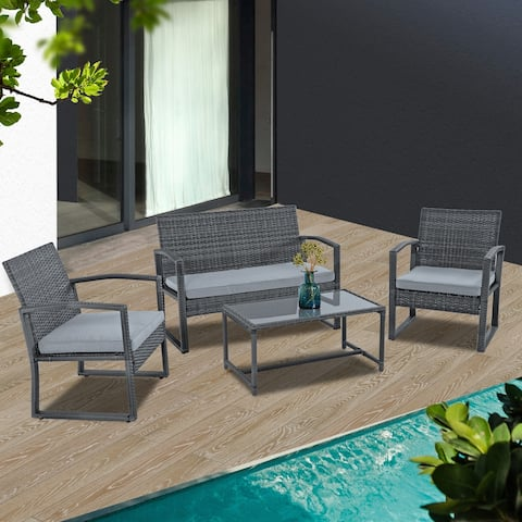 4 Piece Patio Cushioned Set with Loveseat, Chair and Coffee Table