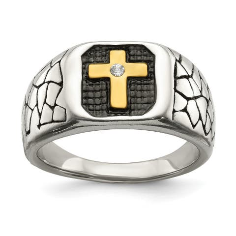 Chisel Stainless Steel Antiqued and Polished Yellow IP-plated with Crystal Cross Ring