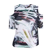 Bar III Women's Printed Cold-Shoulder Top (M, Black Combo) - Black Combo - M