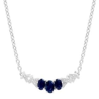 2 1 3 Ct Created Sapphire Garland Necklace With Diamonds In Sterling Silver Blue