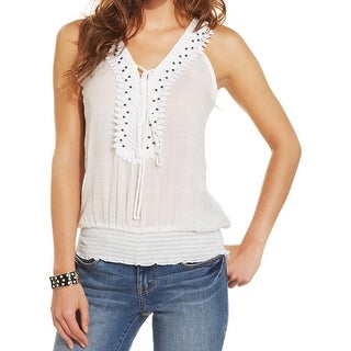 BCX Womens Juniors Tank Top Beaded Crochet Trim