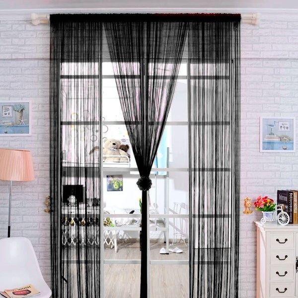 Shop Home Solid Rod Pocket String Curtains Panel Drapes