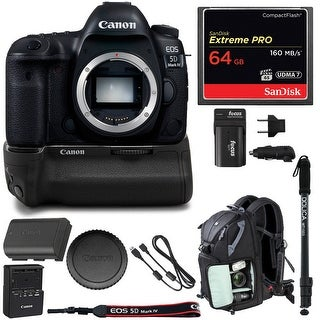 Canon EOS 5D Mark IV DSLR Camera (Body Only) w/ Battery Grip & 64GB Bundle
