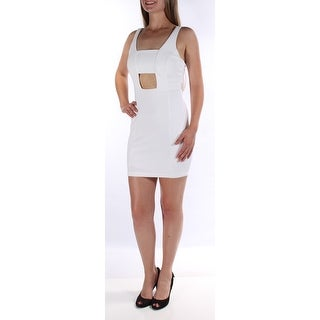Womens White Sleeveless Above The Knee Body Con Cocktail Dress Size: 5