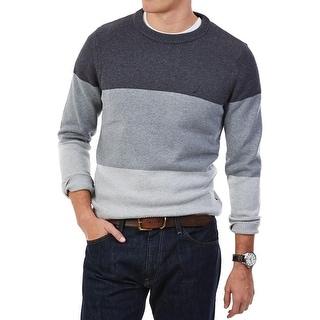 Nautica Mens Crewneck Sweater Colorblock Embroidered