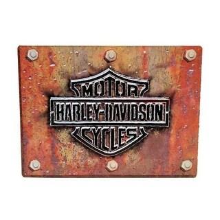 Harley-Davidson Made Plate Bar & Shield Tin Sign 17 x 12.5 Rust Look 2010831