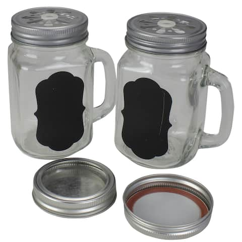 """5.25"""" Clear Glass Shakers with Black Custom Label"""