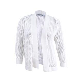Kasper Women's Plus Size Open Crochet Sweater (2X, Vanilla Ice) - Vanilla Ice - 2x