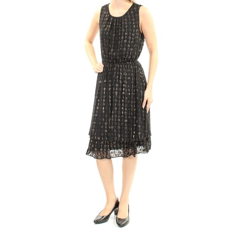 MAISON JULES $130 Womens 2176 Black Jewel Neck Sleeveless Blouson Dress L B+B