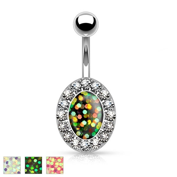 Imitation Opal Glitter Centered Crystal Paved Oval Shape 316L Surgical Steel Belly Button Rings