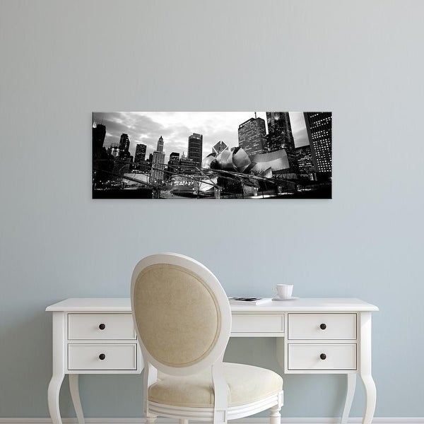 Easy Art Prints Panoramic Images's 'View of buildings lit up at night, Millennium Park, Chicago, Illinois' Canvas Art