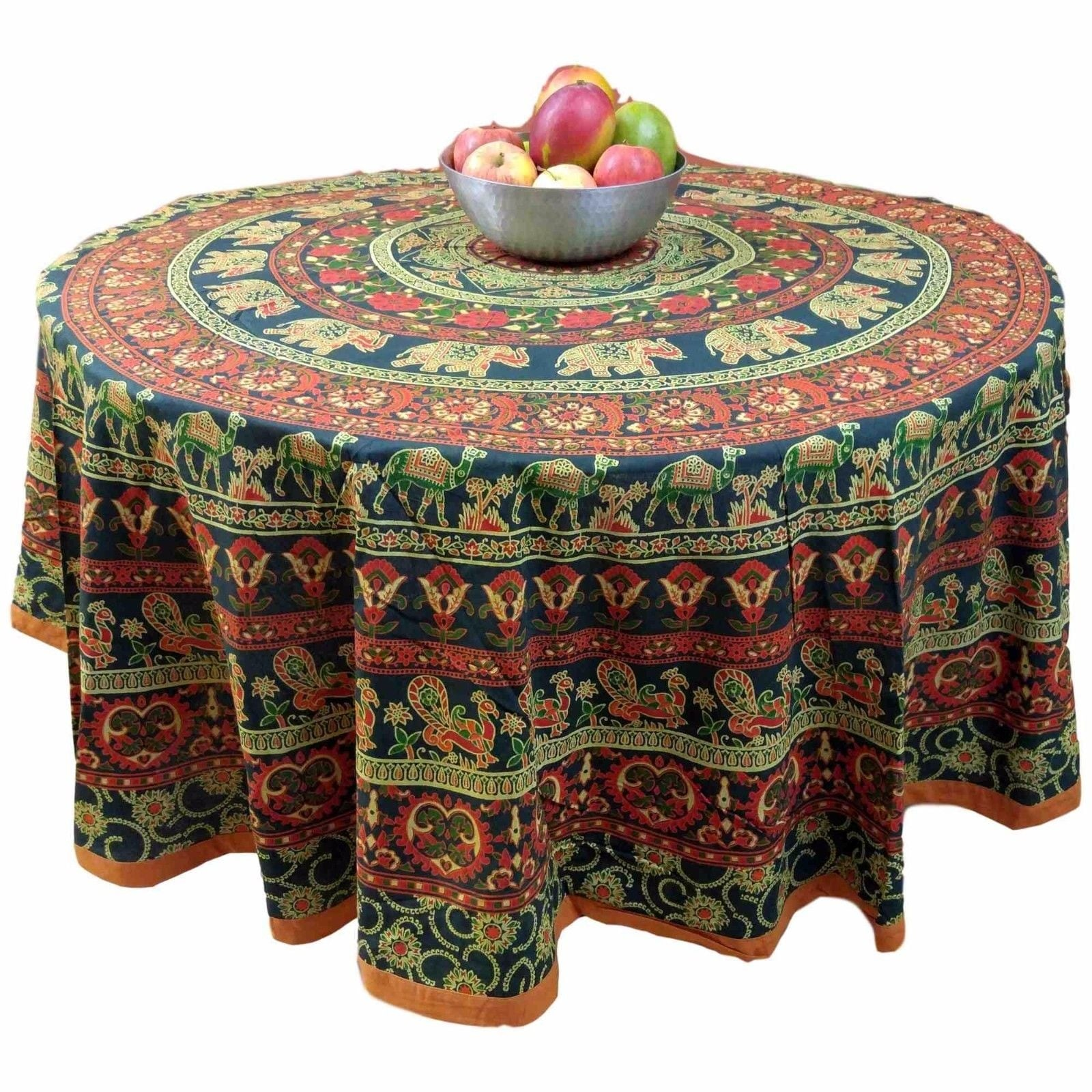 "Handmade 100% Cotton Elephant Mandala Floral Print 81"" Round Tablecloth Green Amber - Thumbnail 0"