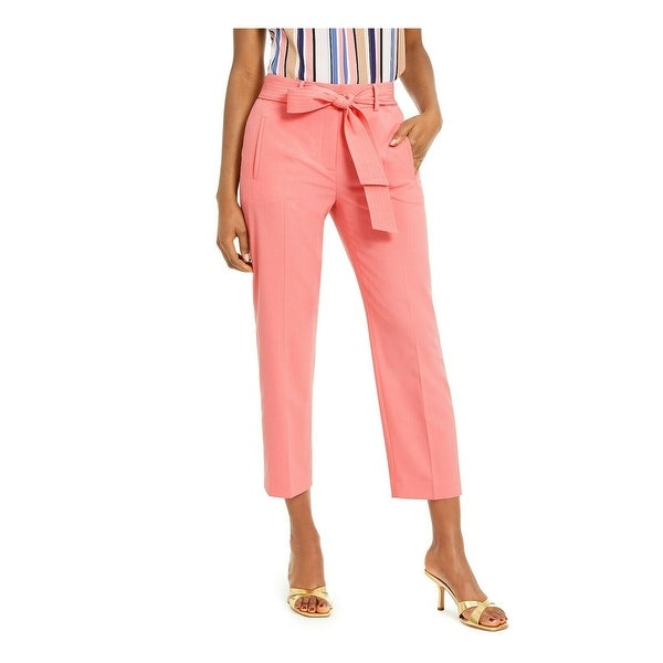 BAR III Womens Coral Belted Straight leg Pants Size 14. Opens flyout.