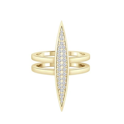 Auriya 14k Gold 1/5ctw Double Band Pave Diamond Fashion Ring