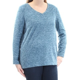 Womens Blue Long Sleeve V Neck Sweater Size L