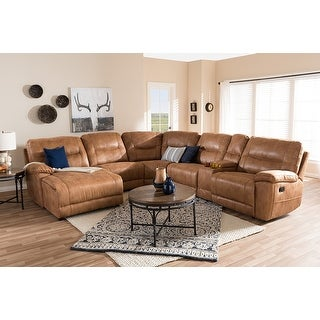 Mistral 6pcs Light Brown Palomino Suede Sectional Sofa w/Recliners