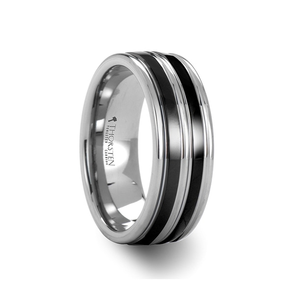 LEVIATHAN Grooved Tungsten Ring wth Dual Offset Black Ceramic Inlays