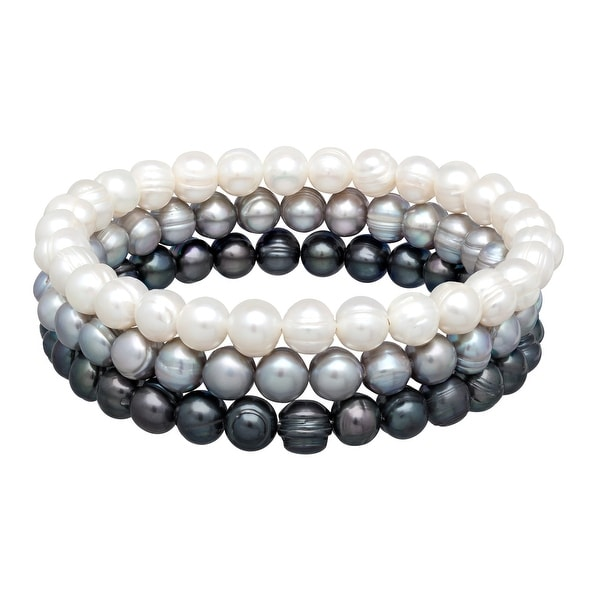 Honora Multi-Color Grey Ringed Freshwater Pearl Bangle Set in Stainless Steel