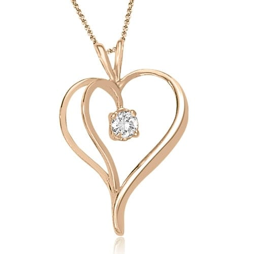 0.30 cttw. 14K Rose Gold Round Cut Diamond Heart Shape Solitaire Pendant