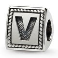 Sterling Silver Reflections Letter V Triangle Block Bead (4mm Diameter Hole) - Thumbnail 0