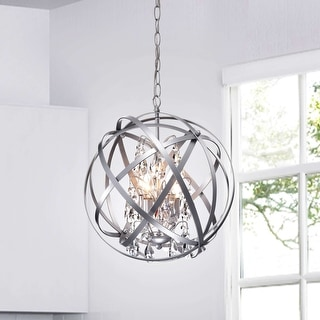 Benita Silver 4-light Metal Crystal Orb Chandelier
