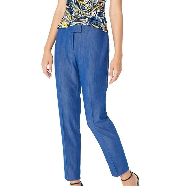 Anne Klein Blue Women's Size 6 Straight Leg Ankle Dress Pants