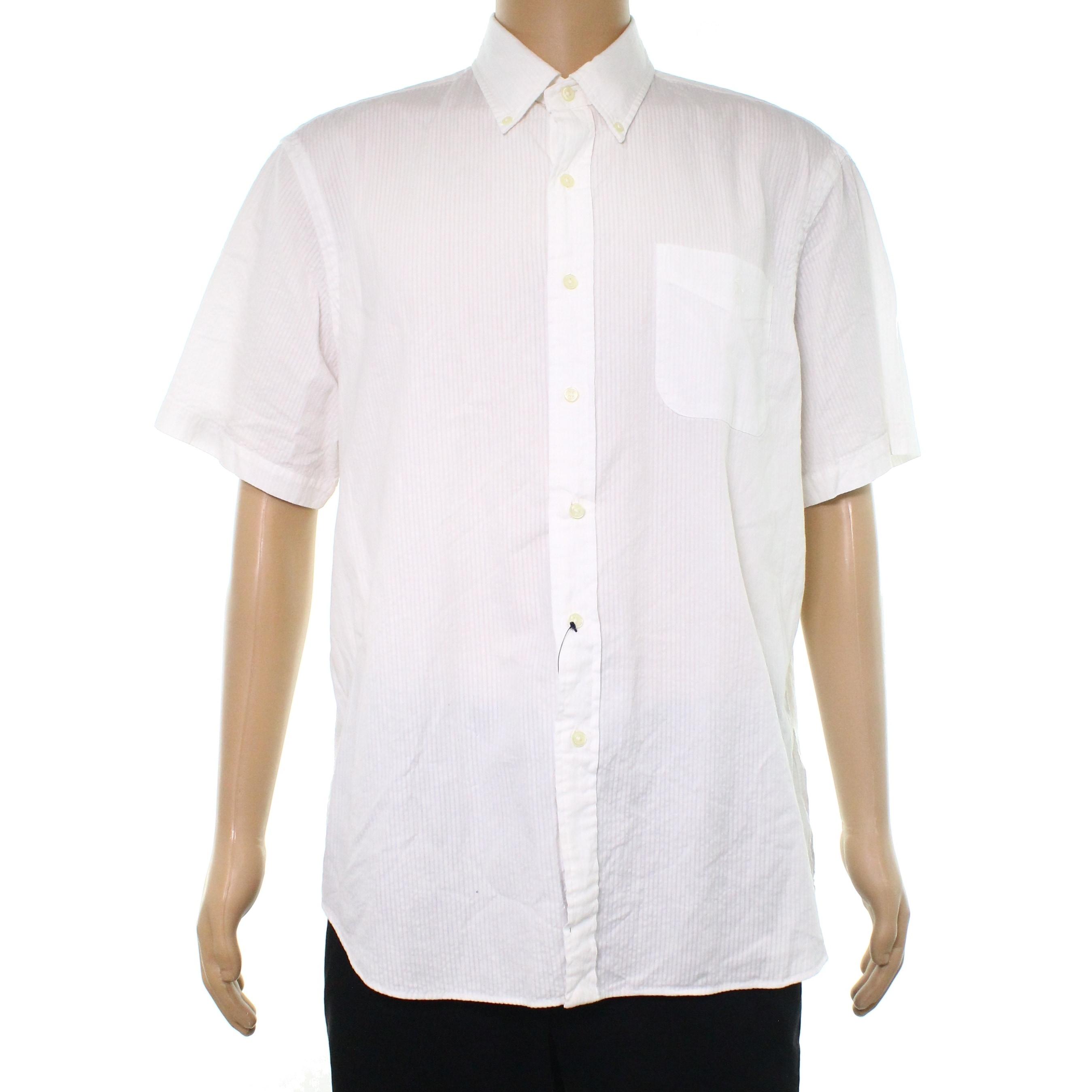 Shop Ralph Lauren White Men S Size Xl Button Down Seersucker Shirt