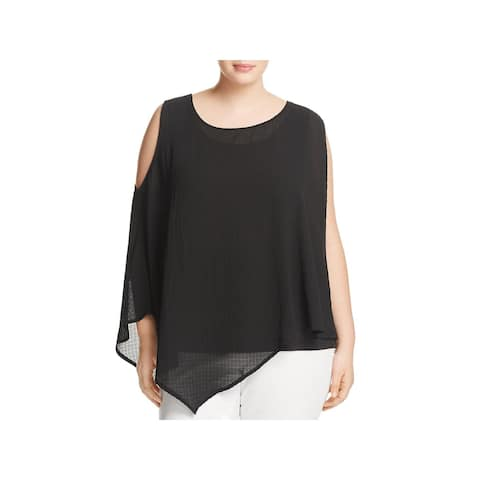 Love Scarlett Womens Plus Blouse Layered Asymmetric