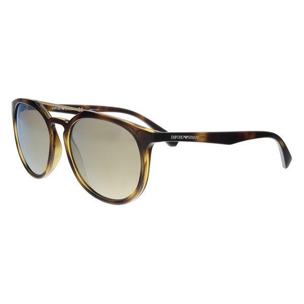 f7d69d12473b Shop Emporio Armani EA4103 50265A Havana Round Sunglasses - 56-18 ...